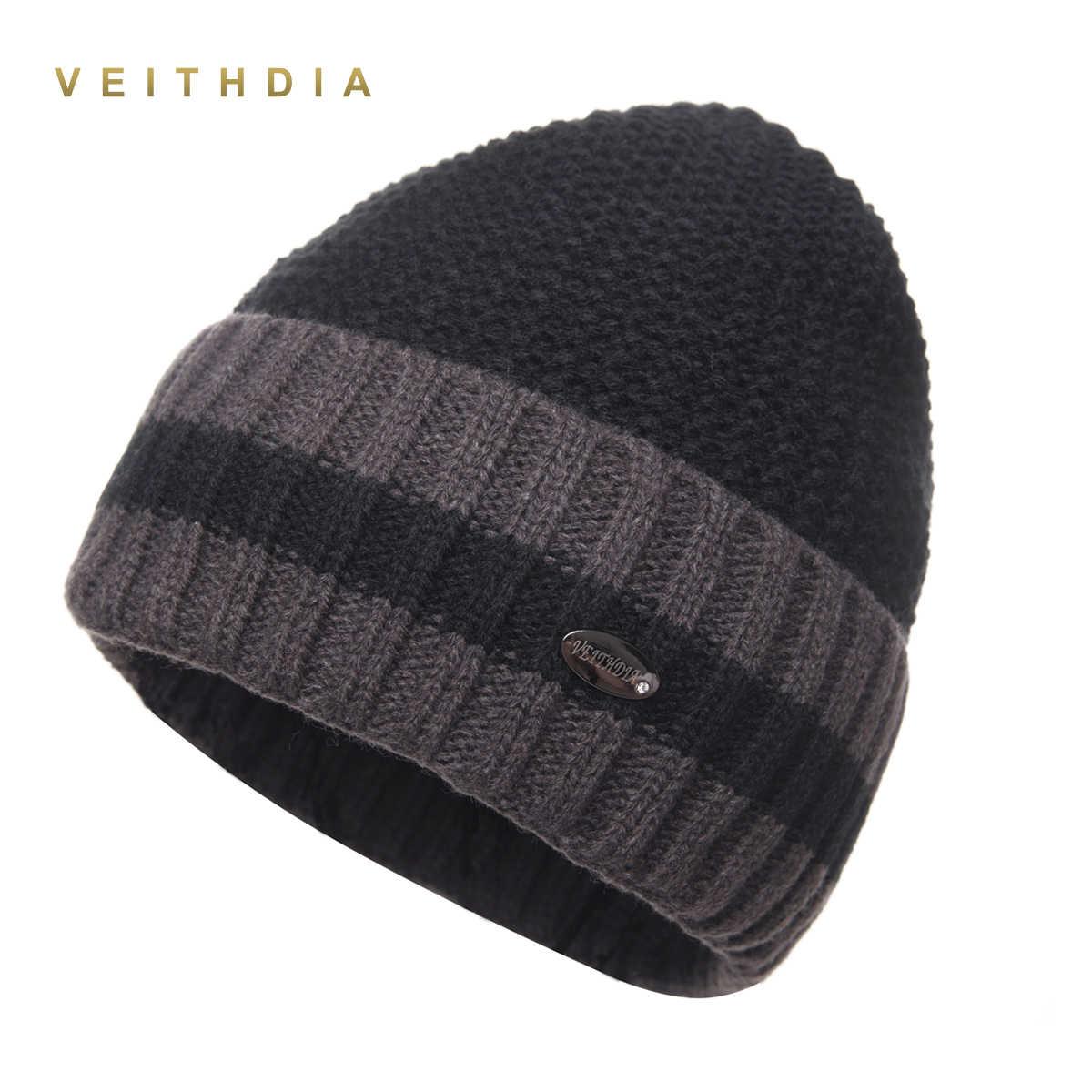 VEITHDIA Pineapple Skullies Hats For Men beanies Knitted plus velvet  Patchwork Color Cap Winter Men s Hat eacd30272bd