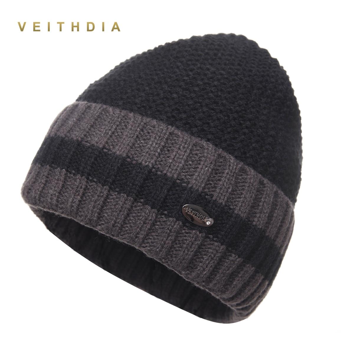 VEITHDIA Pineapple Skullies Hats For Men Beanies Knitted Plus Velvet Patchwork Color Cap Winter Men's Hat Gorro Cap Thick Warm