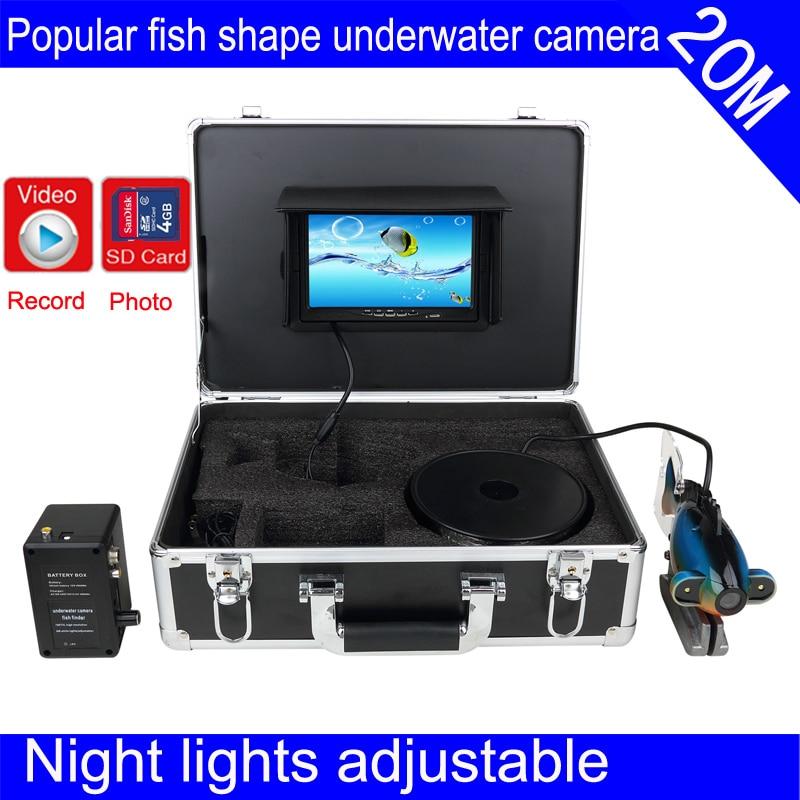 Hight resolution Underwater Fishing Camera system TFT display 7 LCD Monitor IP66 Video Fish Finder 20M night lights adjustable 7 tft lcd fishing camera dvr system 24ir leds fish finder 50m hd 700tvl underwater video camera system with night vision
