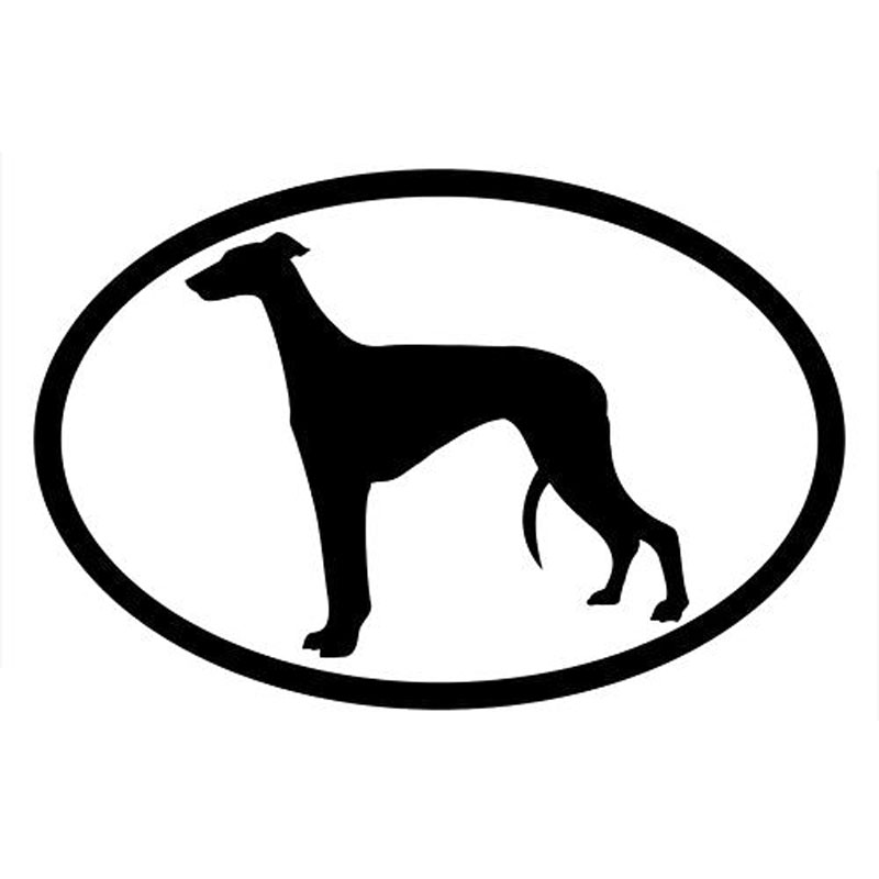 15.2*10.2CM GREYHOUND Oval Classic Pet Dog Window Decoration Stickers Motorcycle Accessories C6-1510