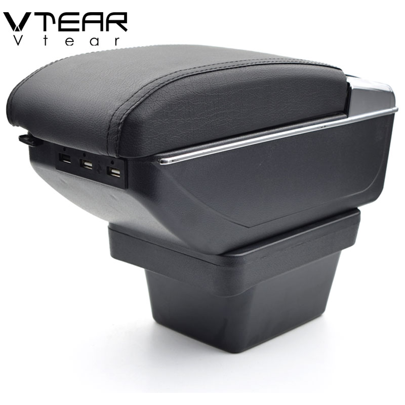 Vtear For Chery Tiggo 2 3X armrest USB Charging heighten Double layer interior car central storage
