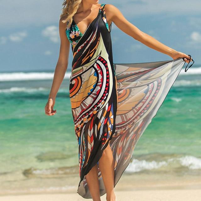 Женское пляжное платье с принтом животных, Пляжная туника накидка с запахом, лето 2019Пляжная одежда    АлиЭкспресс