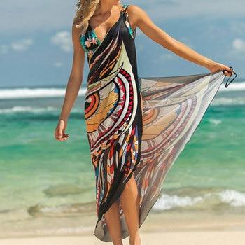 2019 Beach Dress Printed Animal Print Wrap Slip Tunic Summer Women Tunics Sarong Beach Mat Wear Cover Up beach hawaii print cover up slip dress