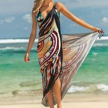 2019 فستان الشاطئ المطبوعة الحيوان طباعة التفاف زلة تونك الصيف النساء الستر رارونغ شاطئ حصيرة ارتداء التسترالتستر