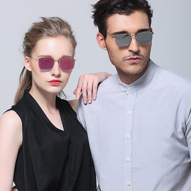 Меньший Размер Прямоугольный Дизайн Металла КОМПОЗИТНЫЕ 1.1 Мужчины Женщины Солнцезащитные Очки Óculos Де Золь Покрытие Мода Европейский Стиль