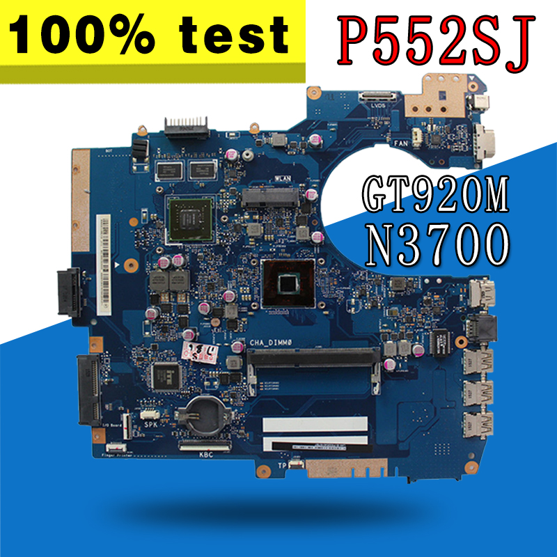P552SJ Laptop motherboard GT920M-2G N3700 CPU for ASUS P552SJ P552SA P552S P552 Test original mainboard