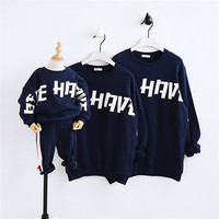Family Clothing 2018 Children Casual New Letters Printed Cotton Sweaters The Same Clothes for Mom and Son Trend Matching Outfits