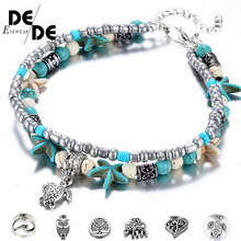 Bohemian Crystal Stone Anklets Double Beach Foot Chain Conch Starfish Alloy Turtle Pendant Leg Bracelet Women