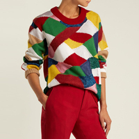 Jastie Multicoloured Patchwork Sweater Boho Chic Red Ribbed knit Collar Pullovers Women Sweaters Winter Casual Knitted Jumper