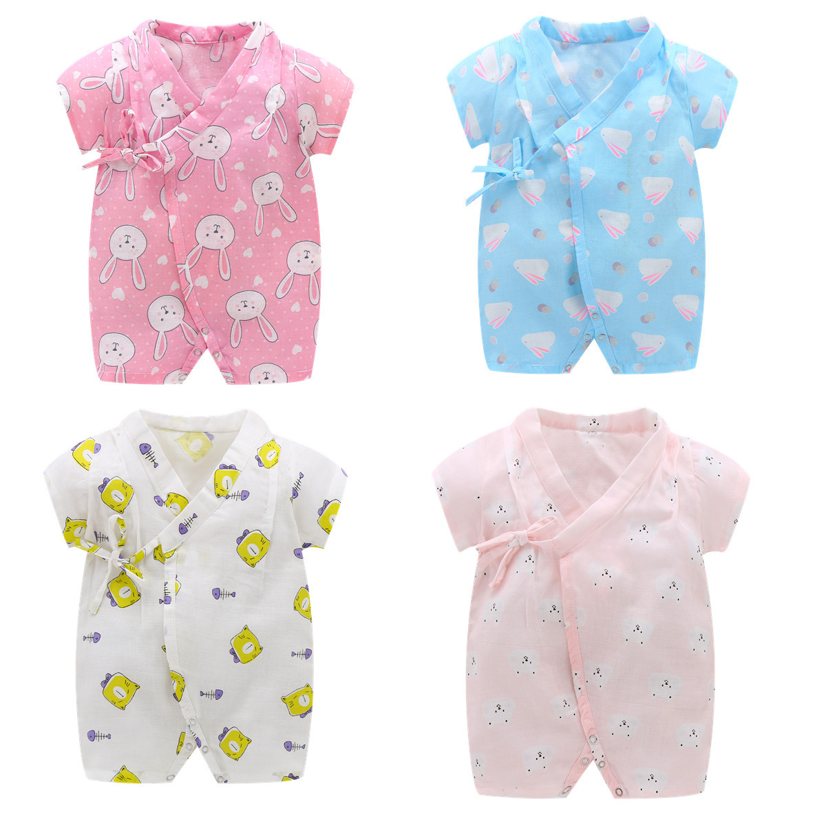 Summer Baby Kimono Rompers Girls Boys Floral Japanese Tracksuit Kids Casual Newborn Infants babies Jumpsuits
