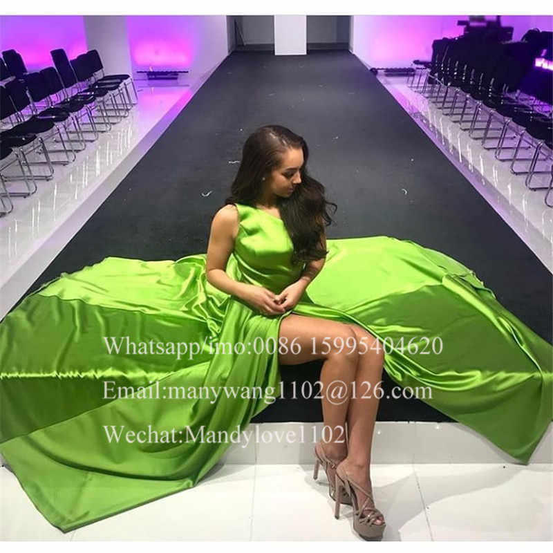 Vestidos de graduación Línea A de satén Salvia Chic con Slitt 2019 largo formal con escote de espalda largo vestido de noche vestido de fiesta de talla grande Robe de soiree