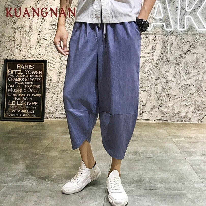 KUANGNAN Joggers Pants Calf-Length-Pants Men Trousers Loose Hip-Hop 5XL Solid Fashions