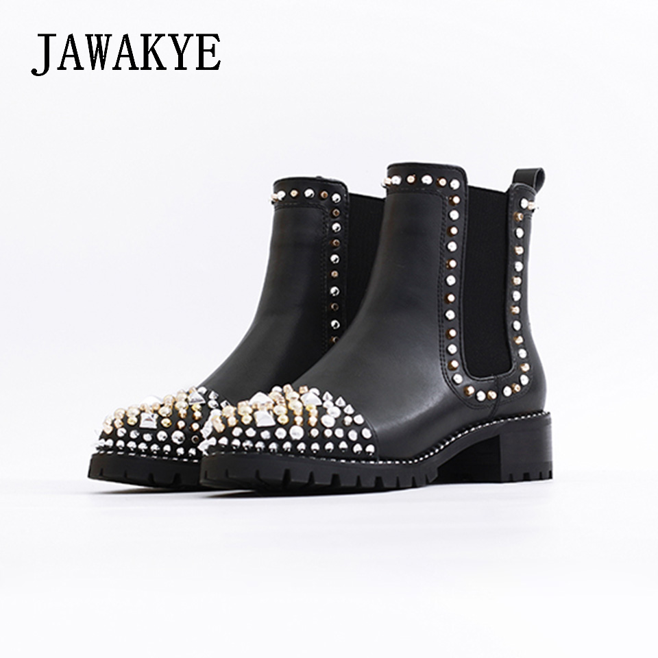 JAWAKYE Round Toe Rivets Studded Ankle Boots Women Flat Square Heel leather Winter Ladies Shoes Martin Motocycle Boots for Women 2016 leather shoes female autumn winter new flat heel round toe ankle boots tide martin boots women flat bottomed tassel boots