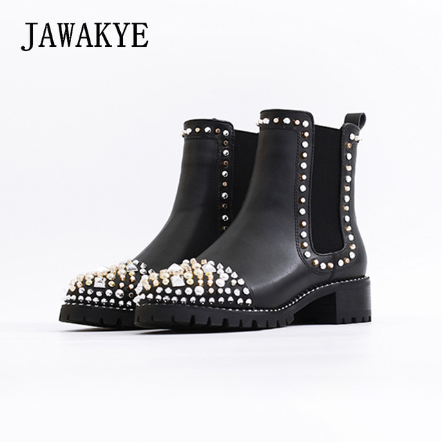0f4c131a69 US $98.6 15% OFF|JAWAKYE Round Toe Rivets Studded Ankle Boots Women Flat  Square Heel leather Winter Ladies Shoes Martin Motocycle Boots for Women-in  ...