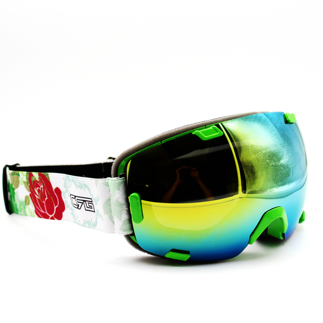 a12de244a5b Floral Band Green Frame Brand New Ski Goggles UV400 Anti-Fog Eyewear Mask  Glasses Skiing