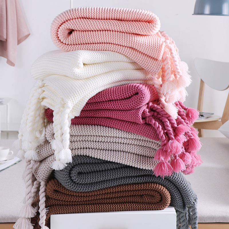 New Nordic Style 130*170cm Pink Plaids Casual Knitted Blankets with Tassel koc narzuta Blankets for Beds Sofa Cover Decoration