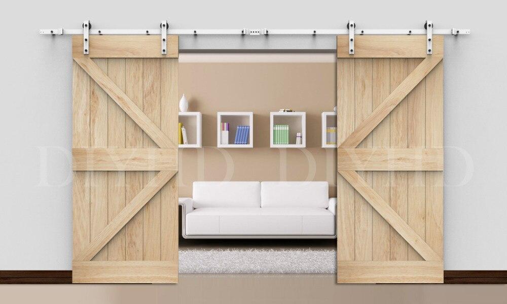 DIYHD 13FT blanc enduit double matériel de porte coulissante de grange