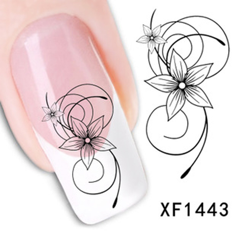 Water Stickers For Nails Fashion Beautiful DIY Watermark Cute Black Flower 3D Design Nail Art Nail Sticker Nail Decal Manicure beauty girl 2017 wholesale excellent 48bottles 3d decal stickers nail art tip diy decoration stamping manicure nail gliter