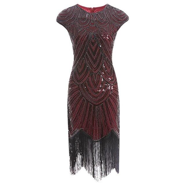 Womens Retro 1920s Beaded Sequined Leaf Art Deco Gatsby Flapper Dress