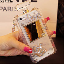 Luxury Bling Crystal Diamond Chain Handbag Perfume Bottle Lanyard Case For IPhone 5 5S SE 6 6S 6 Plus 6Plus 7 8Plus Phone Cases(China)