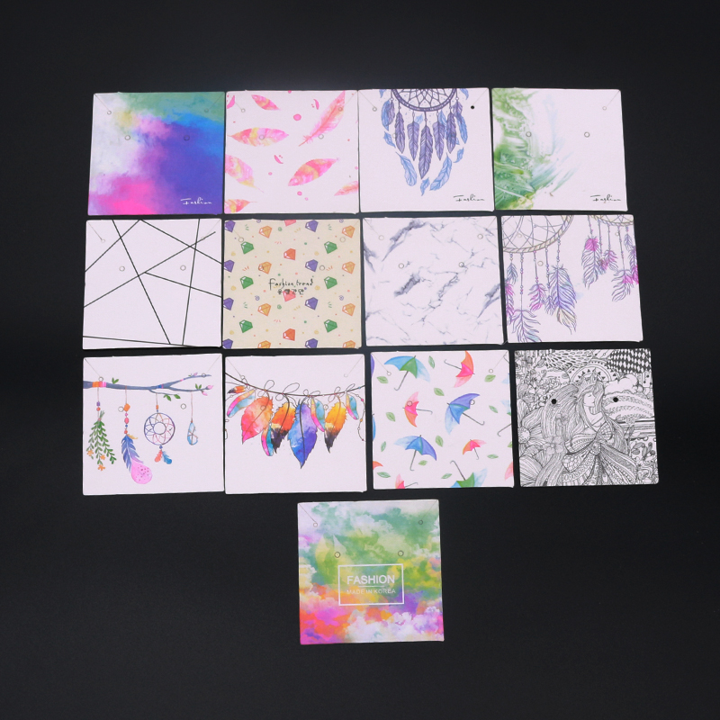 15Pcs/lot Paper Jewelry Display Card Necklace Cards 6x6cm Cute Earrings Card Jewellery Necklaces Packaging Cards Diy Accessories
