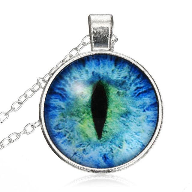 Vintage Cat Eye Necklace Pendant Rhinestone