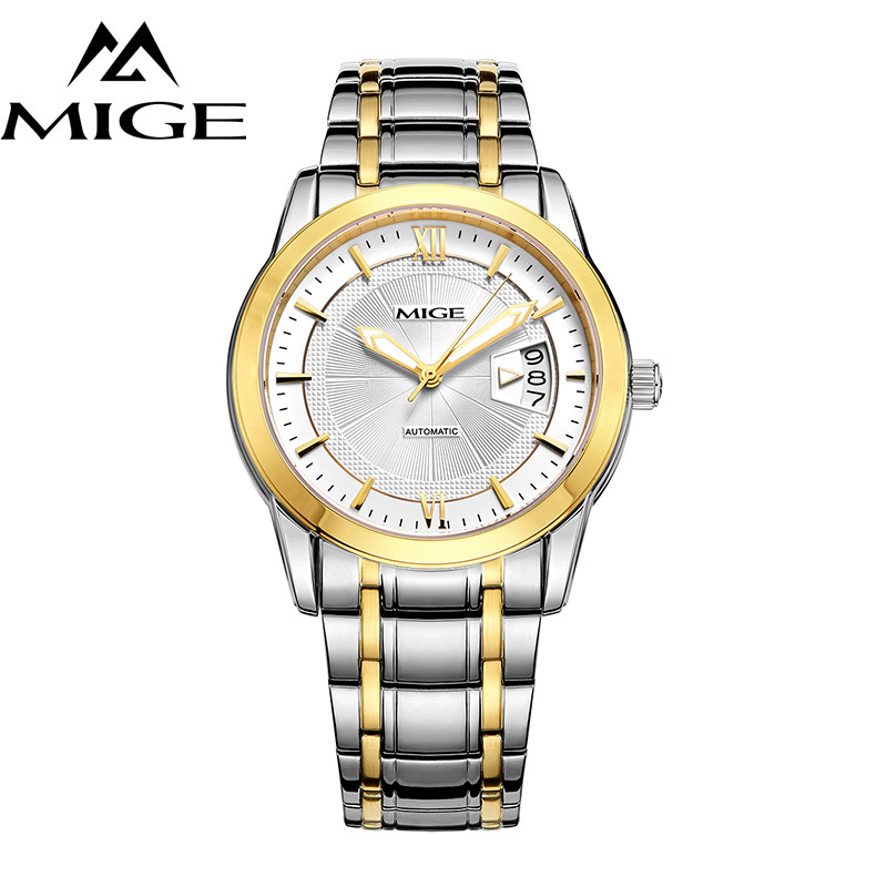 MIGE Sport Watch Men Automatic Mechanical Wristwatch Calendar Synthesis Sapphire Crystal Full Stainless Steel Relogio Masculino automatic watches gold fashion men business watch sapphire full steel mechanical wristwatch relogio masculino luminous 2017