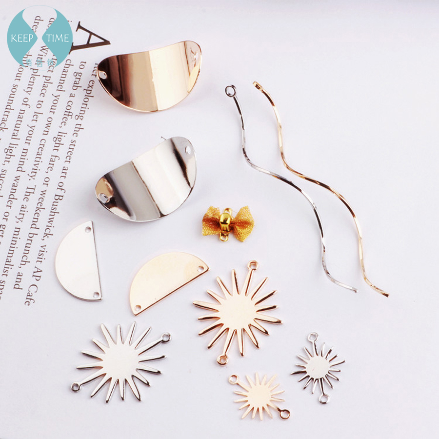 DIY alloy accessories handmade wafer wave butterfly knot semicircle solar earring ear clip ear nail hanging material ...