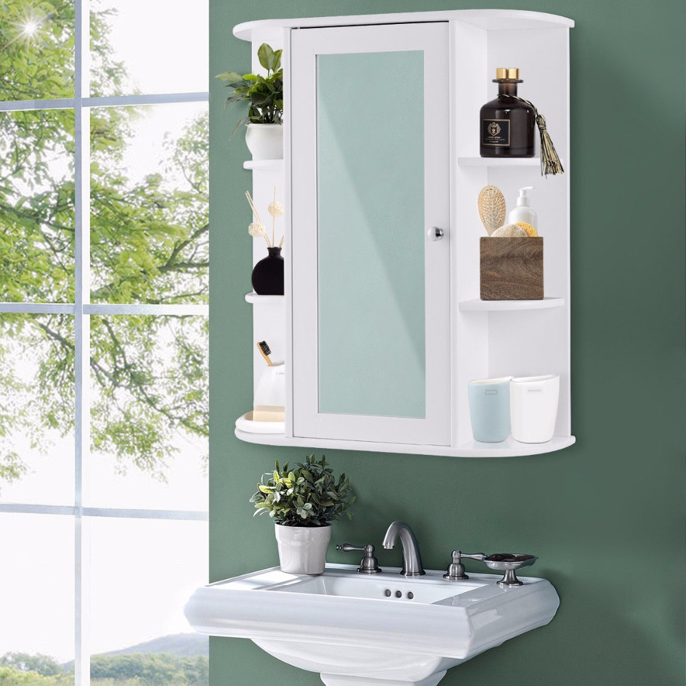 Giantex Bathroom Cabinet Single Door Shelves Wall Mount Cabinet W ...