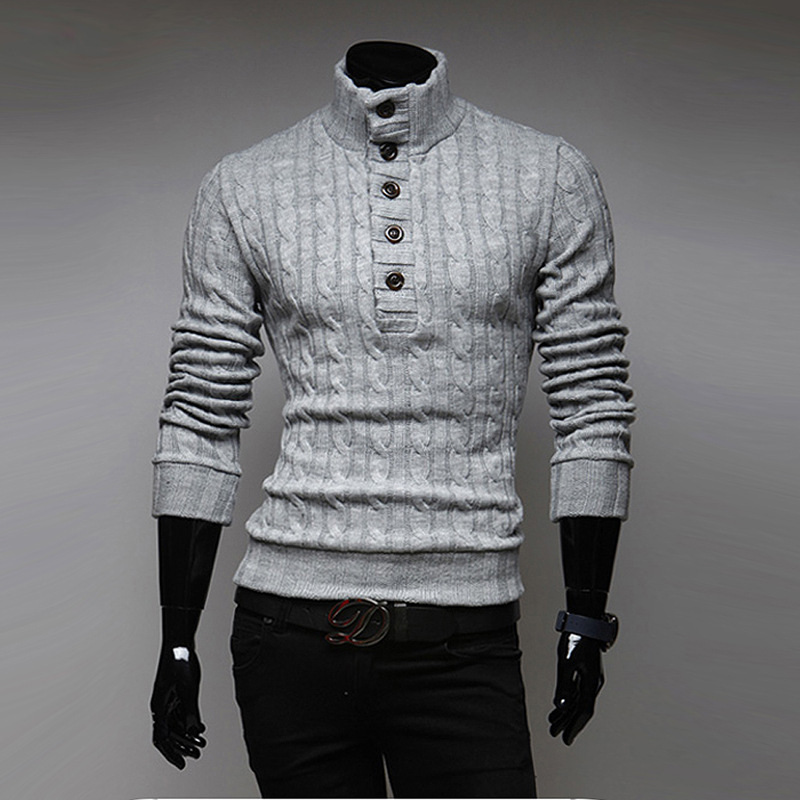 2020 Autumn And Winter Top Selling New Fashion Mens Turtleneck Sweater Solid Color Slim Buckle Korean Sweater Free Shipping