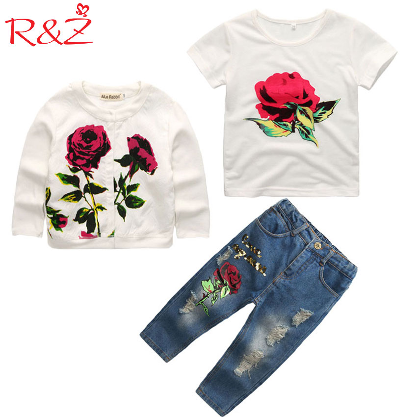 Girls Clothes  Set 2017 Spring/Autumn New Brand Fashion Rose  3pcs 2-9Y Kids long sleeves flower Children Clothing set uovo brand kids spring autumn new sport shoes for girls green color casual sneakers kids fashion canvas shoe zapatos eu 30 37