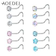 AOEDEJ 3 Pieces 1 Lot 20G Nostril Piercings CZ Crystal Piercing Nose Stud Stainless Steel Star Nose Rings Nariz Piercing Jewelry(China)