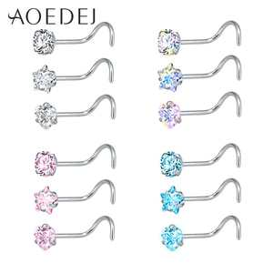 AOEDEJ 3 Pieces Stainless Steel Nose Rings Piercing Jewelry