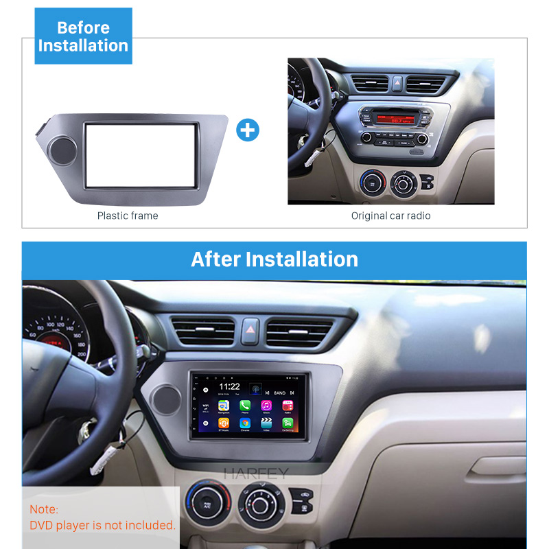 Harfey 2Din Refitting Kits Panel Car GPS Autoradio Stereo Frame Fascia for KIA Rio OPTIMA Cover Trim 173*98/178*100/178*102mm