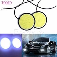 2Pcs White 12V 8W COB LED Lights Headlight Round Bright Daytime Running Lamps