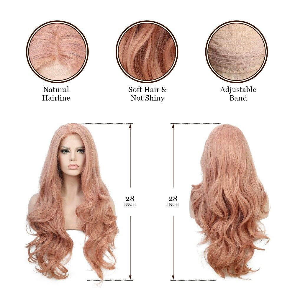 Blandat persika Rosa Naturvåg Syntetisk Spets Fram Paryk Glueless - Syntetiskt hår - Foto 4