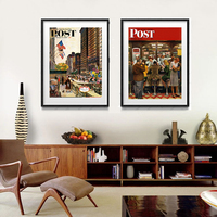 vintage poster canvas painting modern decorative art picture Lunch Counter Michigan Avenue Chicago Saturday Evening Post Cover