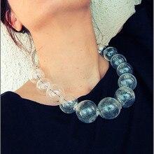 Collar con 19 bolas de cristal para mujer, Gargantilla transparente, hecho a mano, 2018