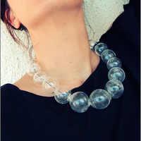 Original Unique Design 19 Beads Glass Ball Bubbles Clear Choker Necklace Women Big Transparent Handmade Minimal Necklace 2018