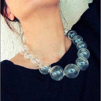 5adb14cd5436 Original diseño único 19 cuentas bola de cristal burbujas claro gargantilla  collar mujer grande transparente hecho