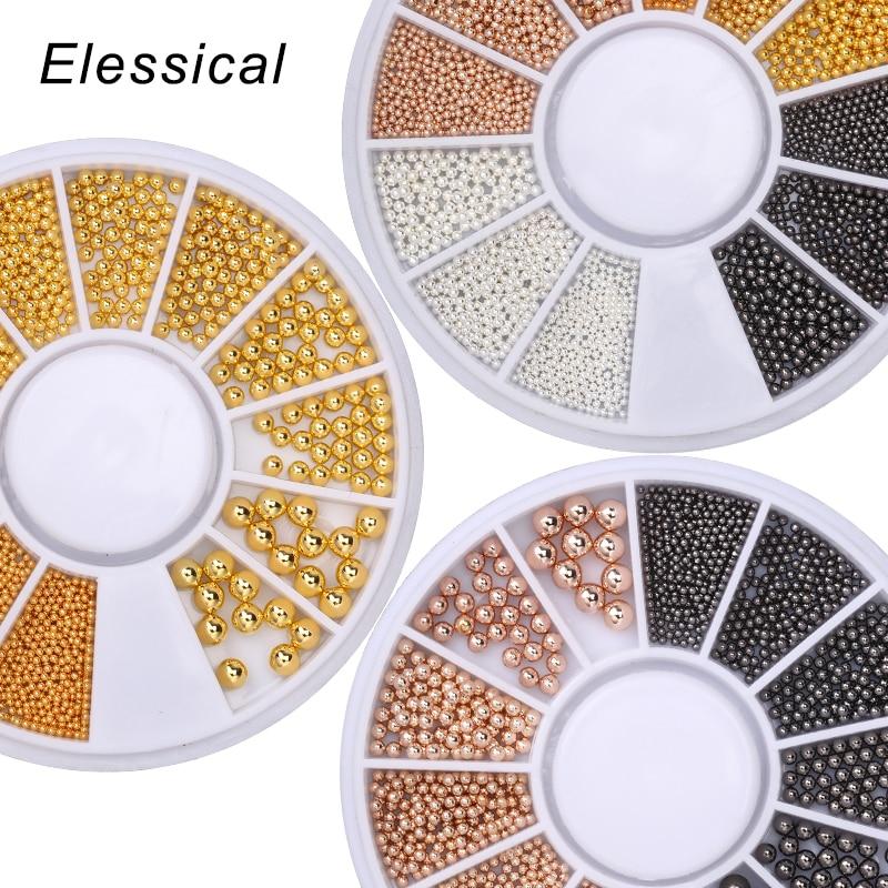 Мини-икра ELESSICAL, металлические бусины, шарик из нержавеющей стали, гвоздик, икра, розовое золото, 3D микро-шар, Шарм для дизайна ногтей на колес...