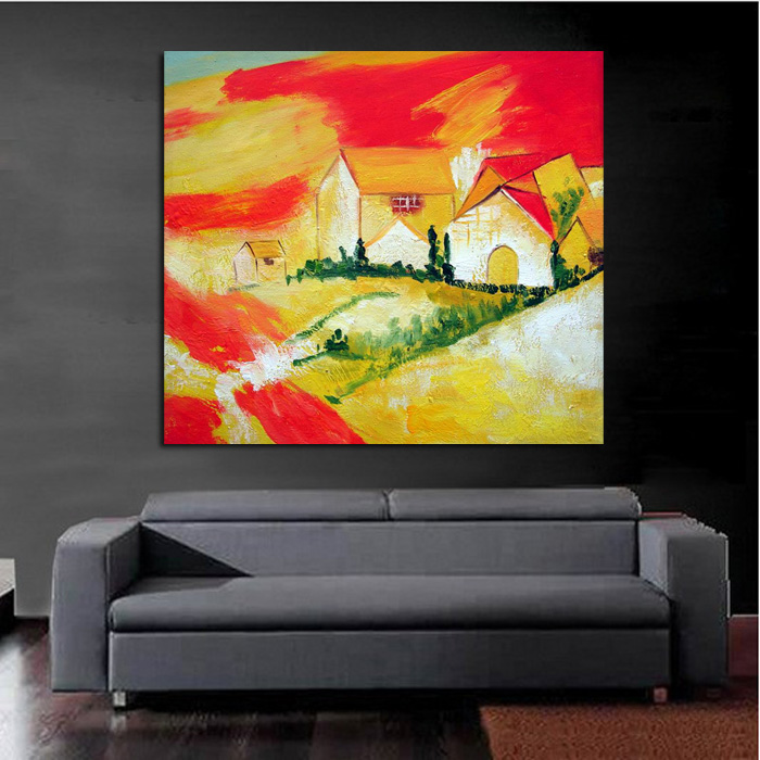 Handpainted Free Shipping Pictures Lovely House Art on Canvas Modern ...