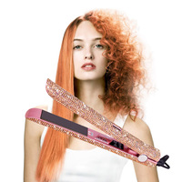 Super Bling Rhinestone LCD Digital Display Flat Iron Crystal Gems Titanium Hair Straightener