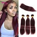 8A Mink Brazilian Virgin Hair With Closure Straight Human Hair Bundles With Closure 3 Pcs 99J Red Hair Bundles With Lace Closure