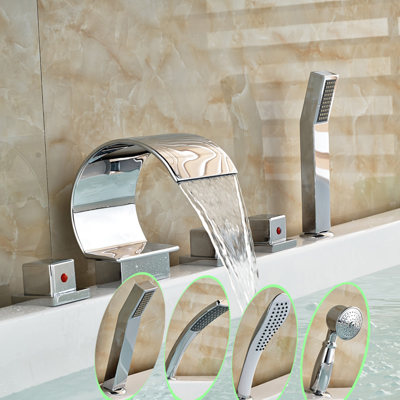 Chrome Finish Deck Mounted 5pcs Bathroom Shower Bathtub Mixer Faucet new arrival contemporary chrome finish bathroom tub faucet set w abs handheld shower 3pcs mixer tap bathtub faucet deck mounted