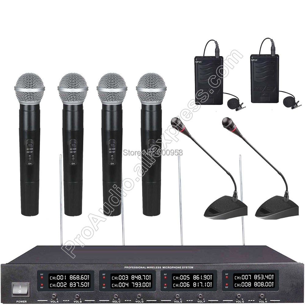 MICWL U2048 New Wireless Digital Gooseneck Conference Handheld Lavalier Microphone System Radio 8 Channel Design