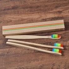 10 PC Eco Friendly bambou poignée brosse à dents arc-en-ciel coloré blanchiment doux soies naturel bambou brosses à dents soins buccaux dent