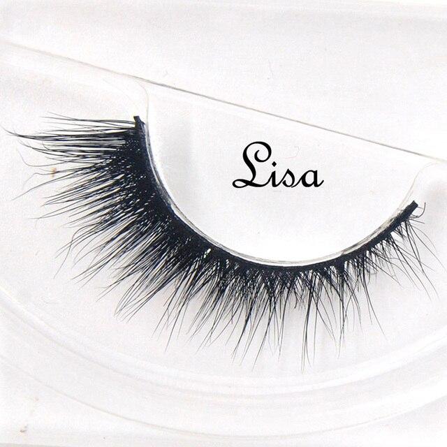 False Eyelashes hand made winged black band mink lashes black cotton stalk natural long eye lash reuse daily eye extension-lisa
