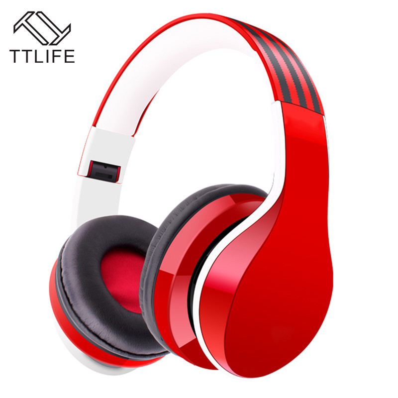TTLIFE Wireless Bluetooth Headphones Bass Noise Lsolating Earphone with MIC Support Hands-free Memory Card FM Radio for Phones ttlife bluetooth earphone