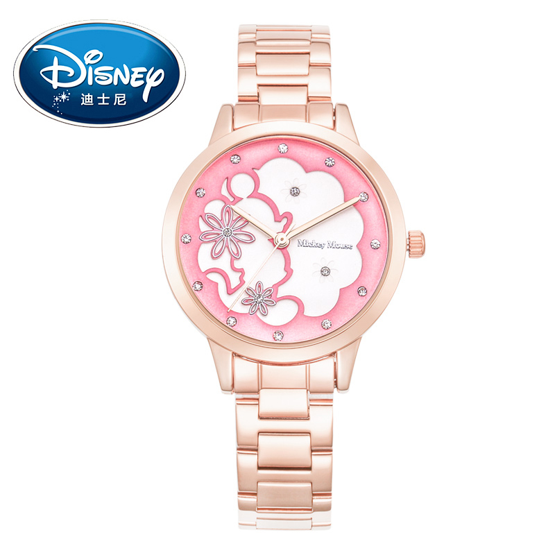 Disney Kids Watch Children Watch Fashion Cute Wristwatches GirlsMickey Mouse Gift Water Resisitant With Diamond clock disney kids watch children watches princess elsa crown snow genuine brand fashion cute wristwatches leather strap gift clock